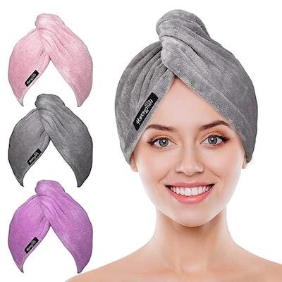 POPCHOSE Microfiber Hair Towel Wrap (3-Pack)