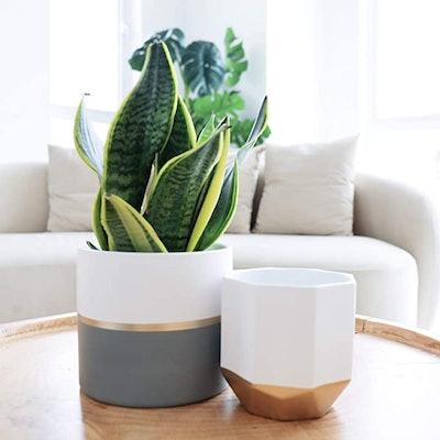 LA JOLIE MUSE White Ceramic Flower Pot