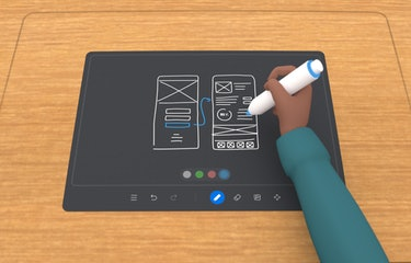 Using Oculus Quest 2 touch controllers to scribble notes within Workrooms