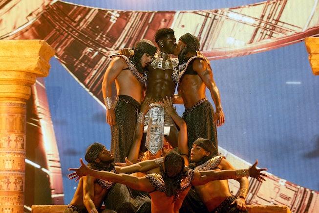 Lil Nas X performing at the 2021 BET Awards.