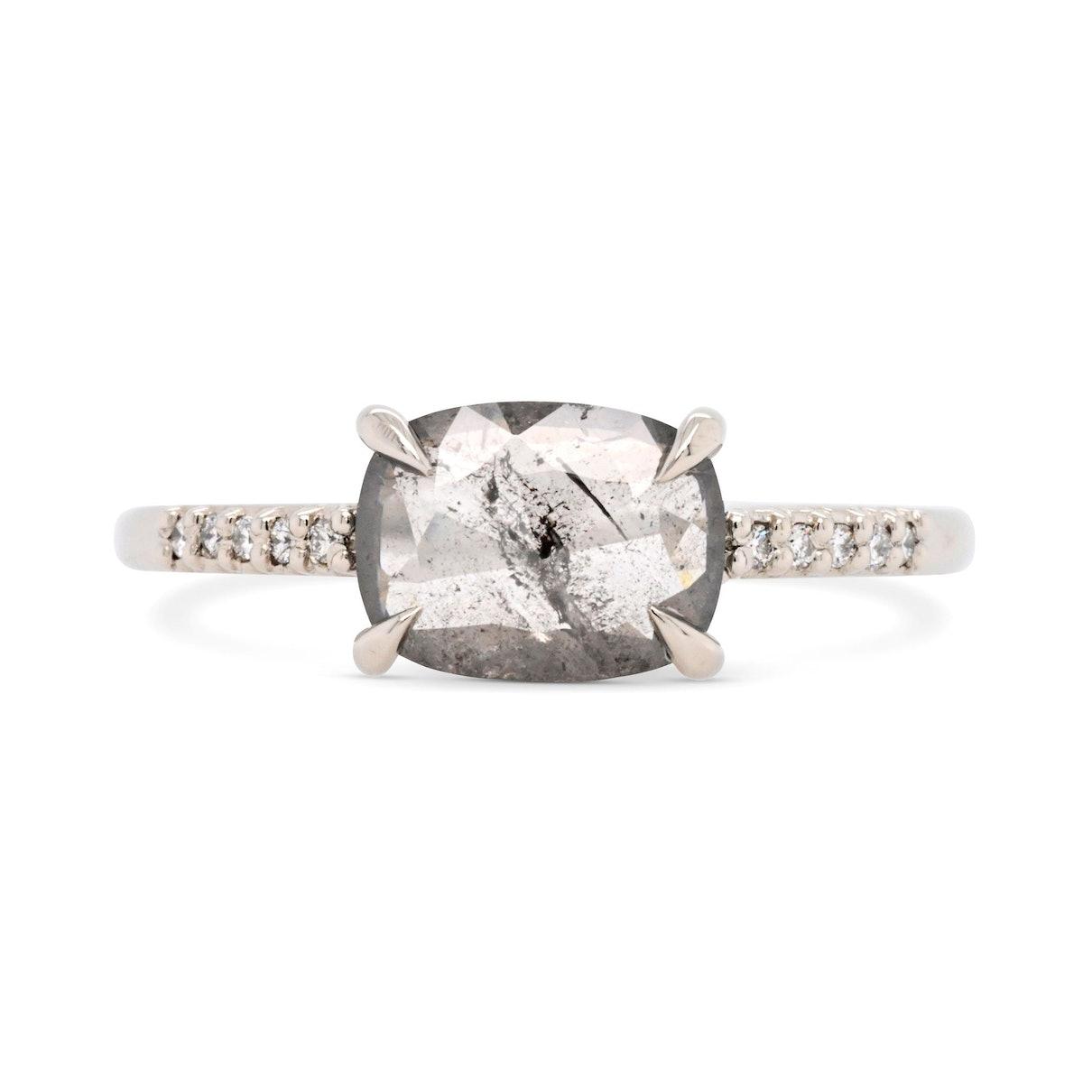 0.96 Eva Salt & Pepper Cushion Diamond Engagement Ring with Pavé Diamond  from Valerie Madison.