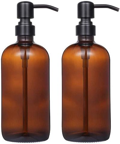 CHBKT Soap Dispenser with Matte Steel Pump (2-Pack)