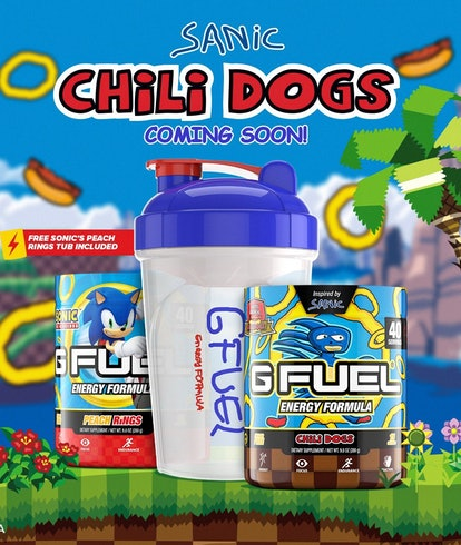 An ad for G-Fuel's Sanic-themed energy powder that tastes like chili dogs. Food. Drink. Video games....