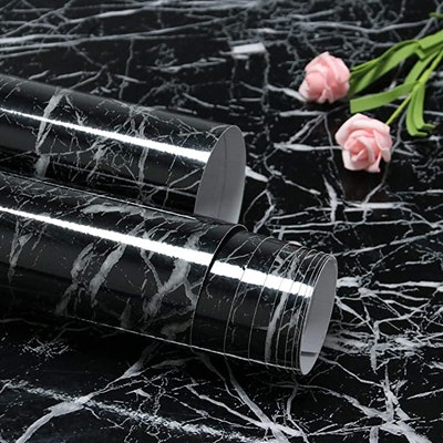 Feisoon Black Marble Contact Paper