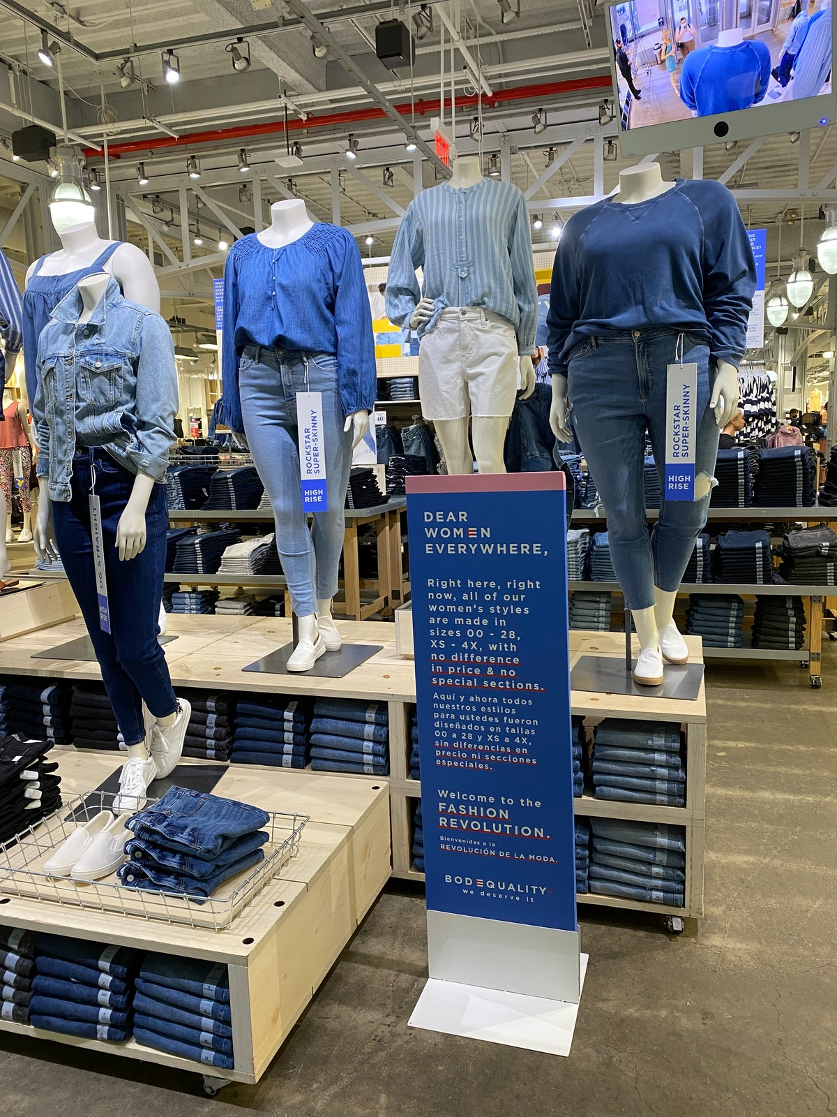 New mannequins in extended sizes are featured in Old Navy stores as part of its BODEQUALITY initiati...
