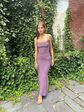 SKIMS Soft Lounge Long Slip Dress in Plum