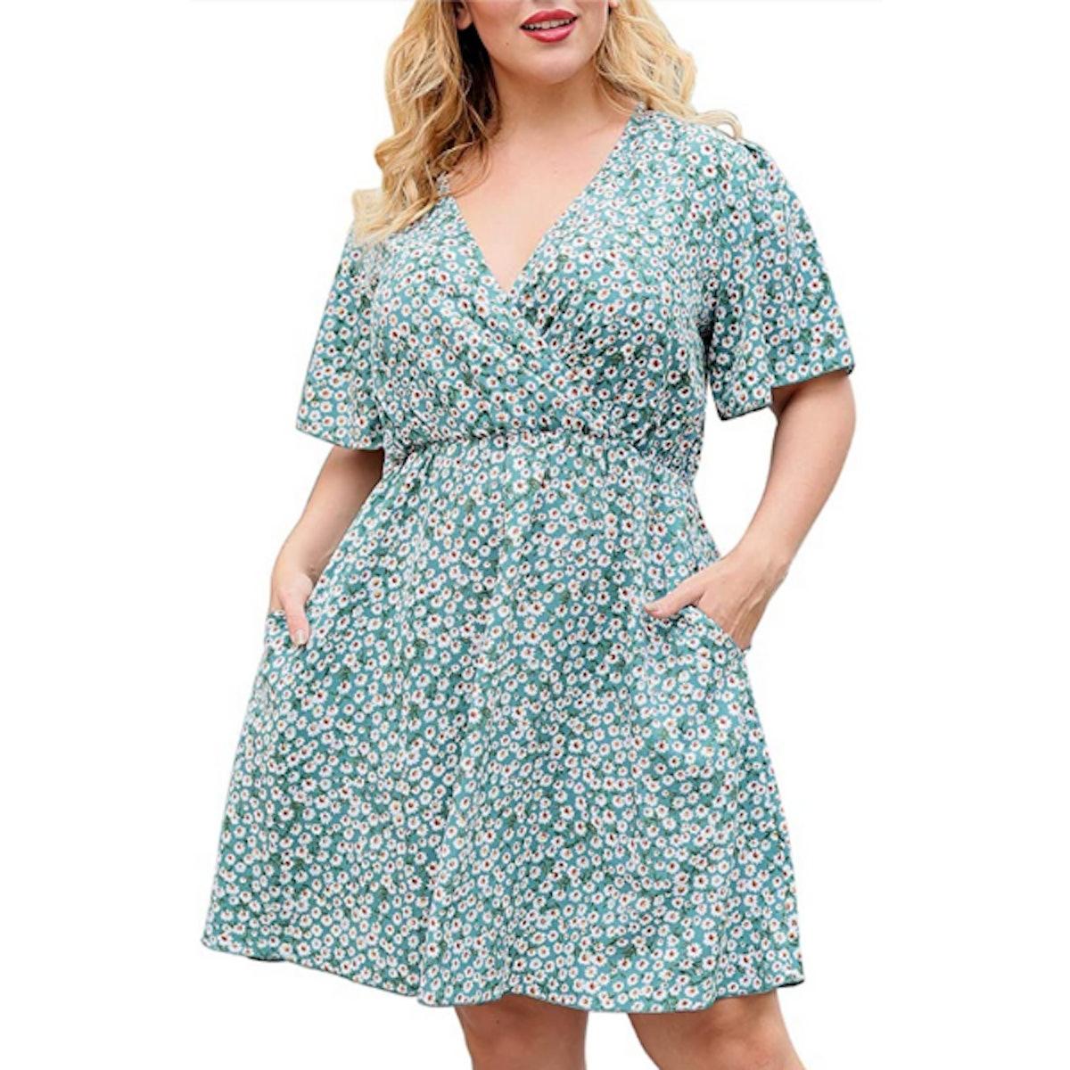 Nemidor Plus Size Wrap Dress with Pockets