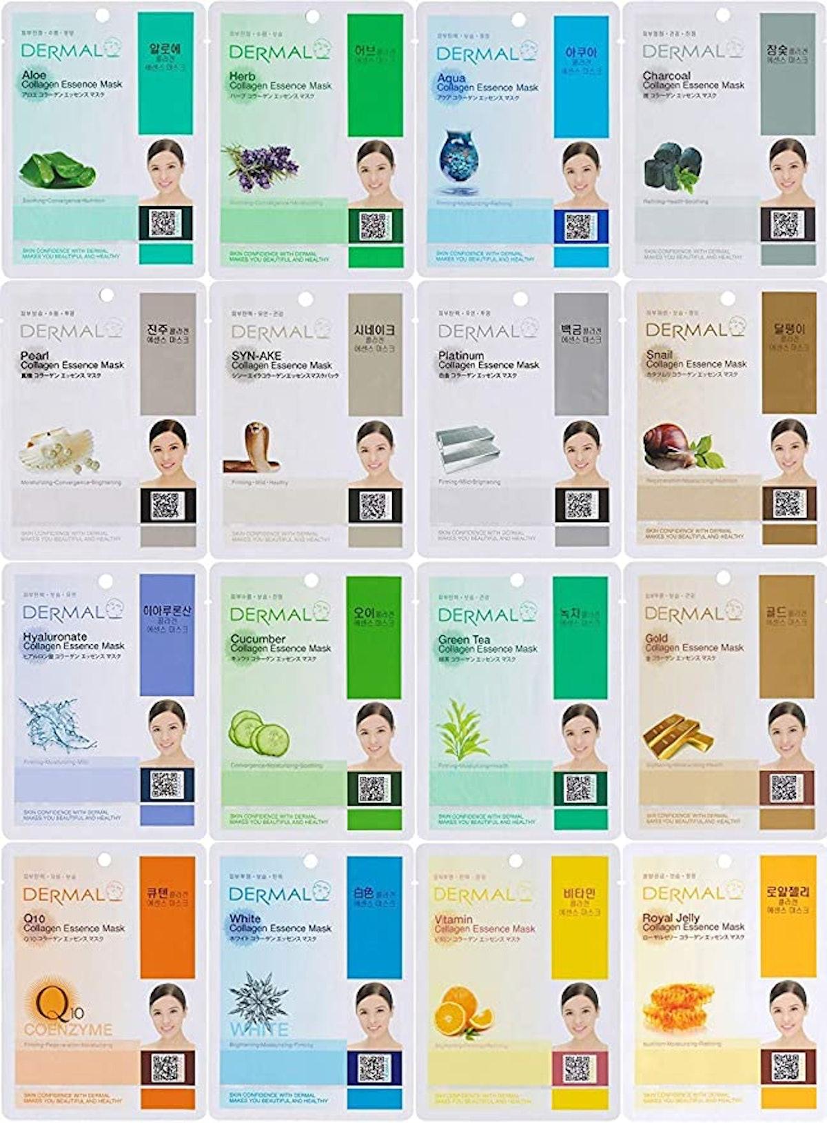 Dermal Korea Collagen Essence Full Face Mask Sheet Combo Pack (16-Pack)