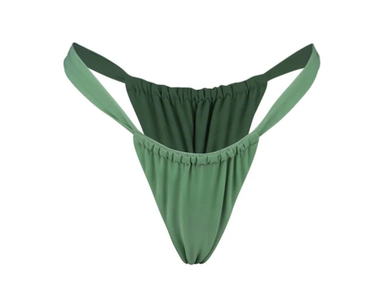 Gonza's ruched bikini bottom in caroni.