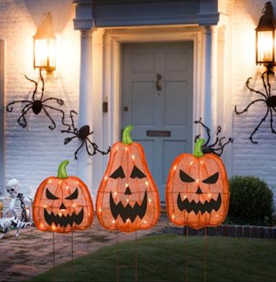 """26"""" Orange LED Jack-O-Lantern Halloween Garden Stakes"""