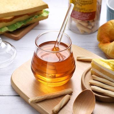 BESTONZON Glass Honey Pot
