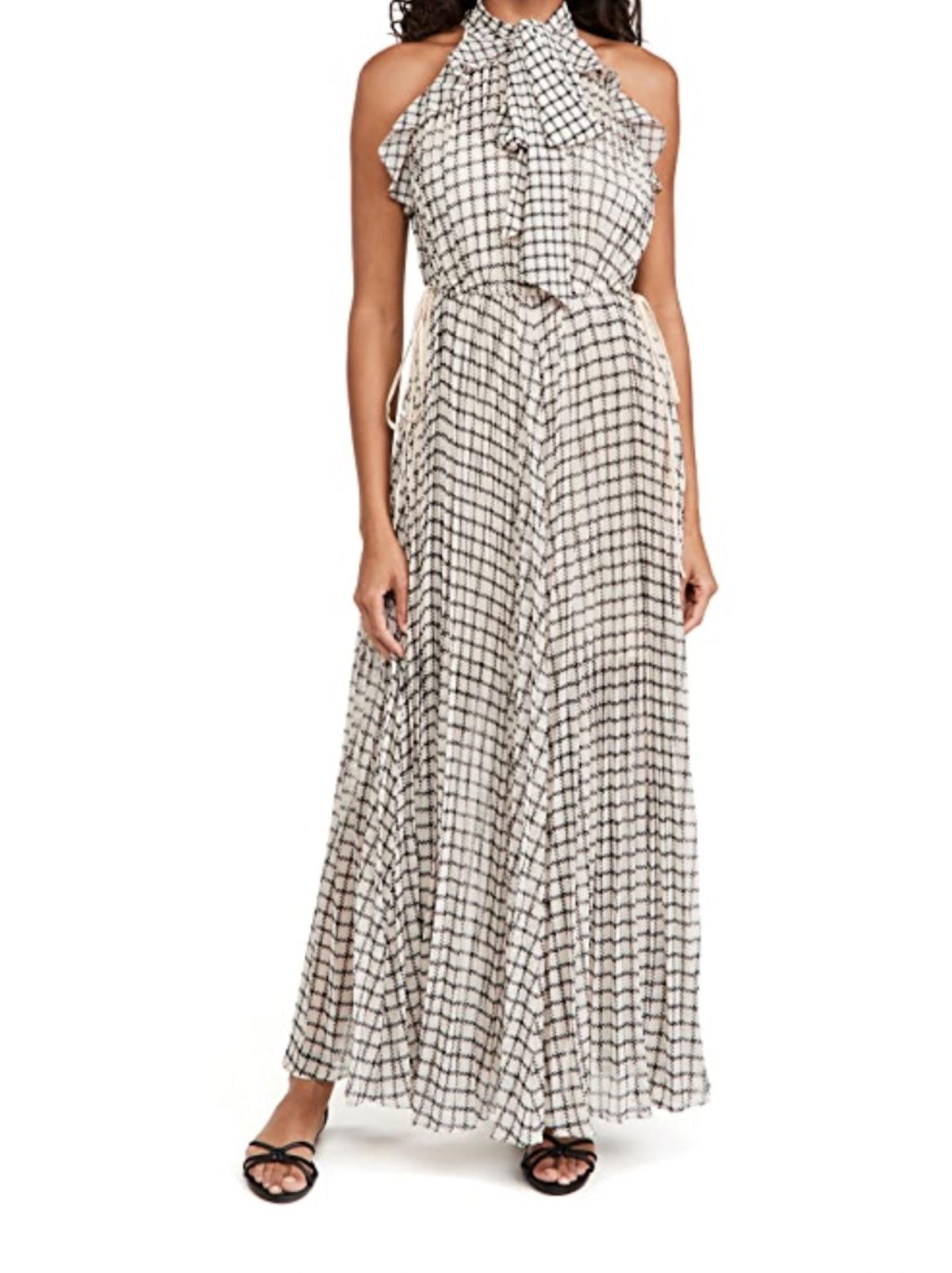 Monochrome Check Maxi Dress