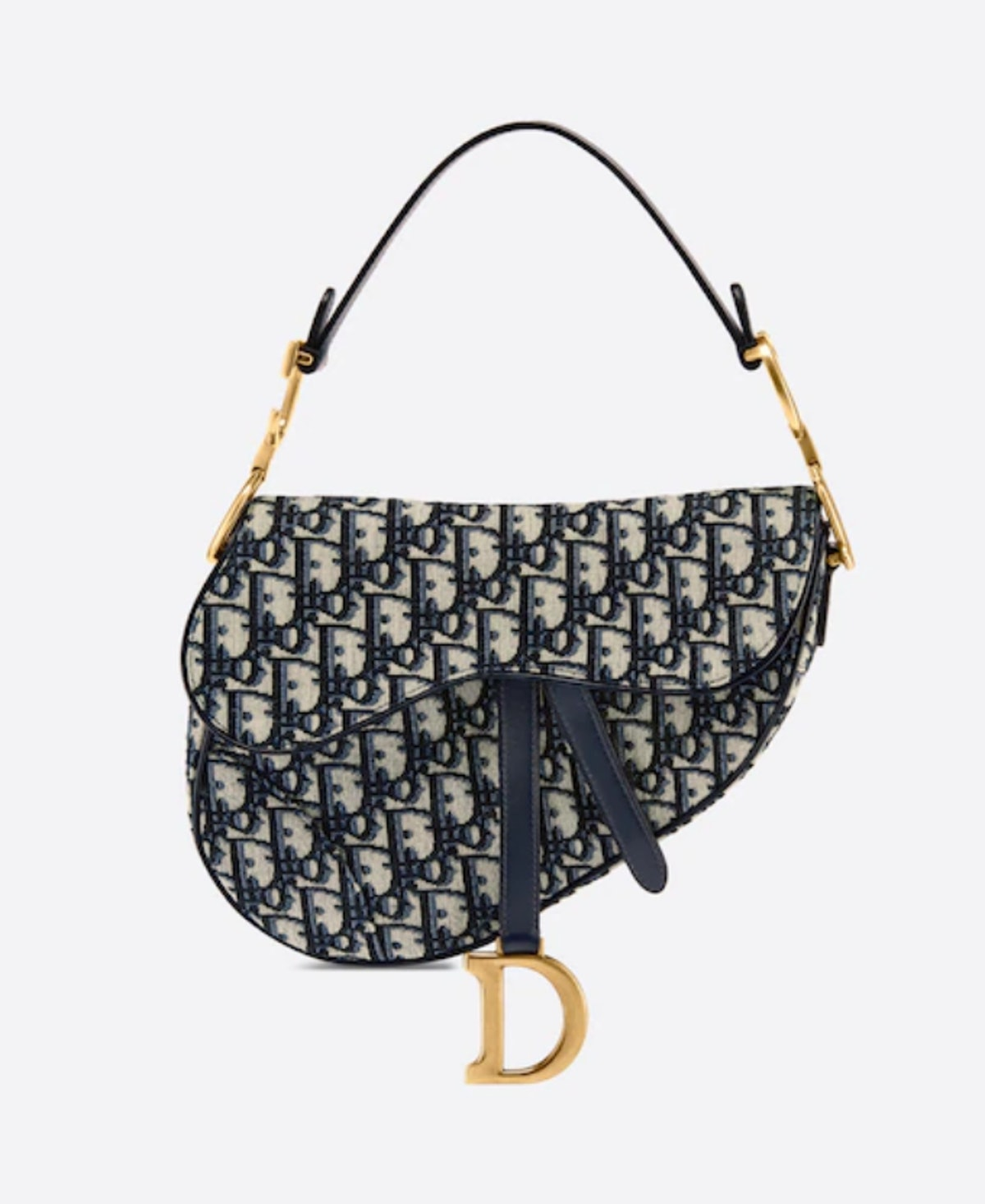 Dior's Saddle Bag in blue oblique jacquard.