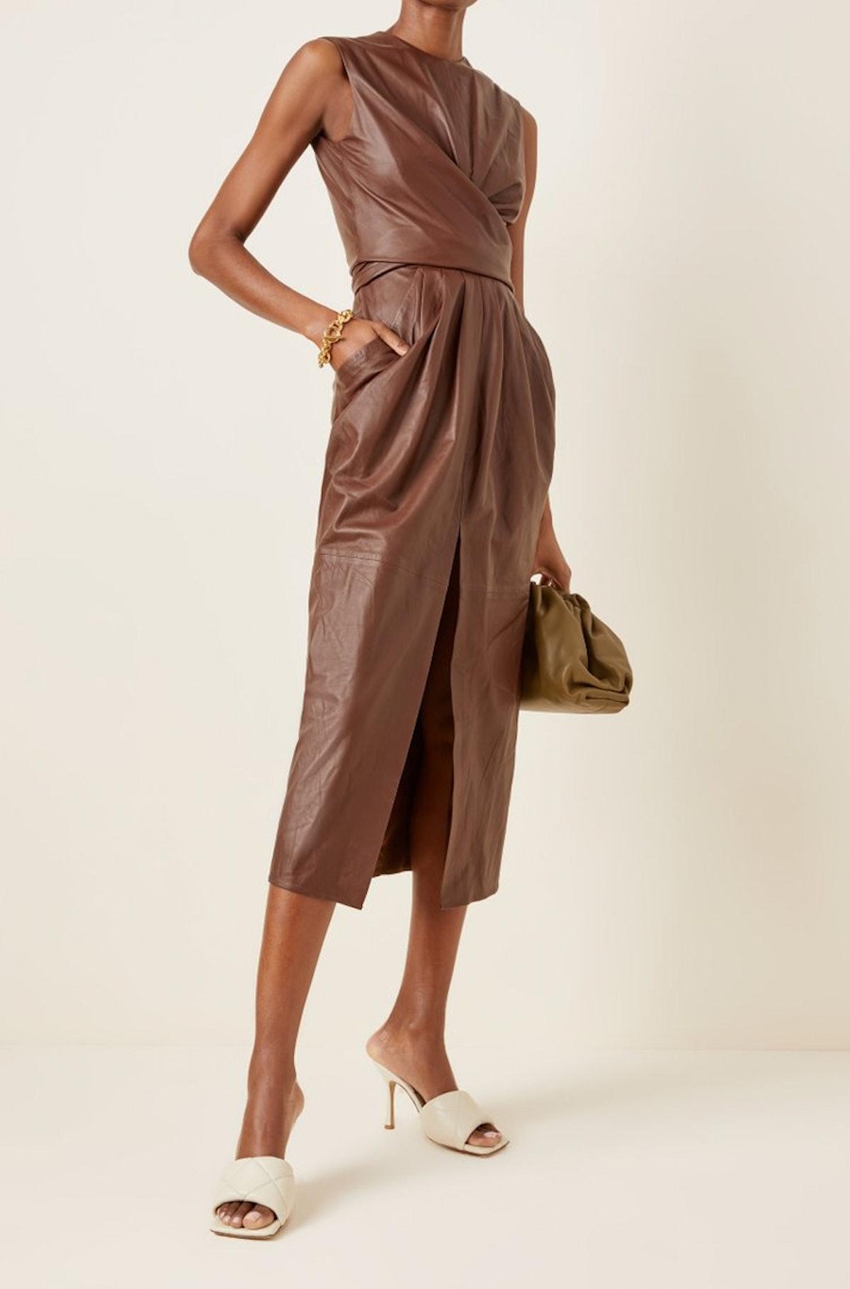 Tipp Gathered Leather Midi Dress