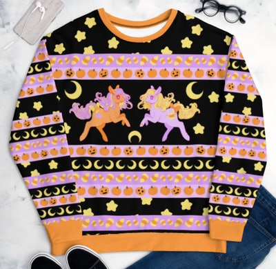 Flat lay sweater with ponies and Halloween details