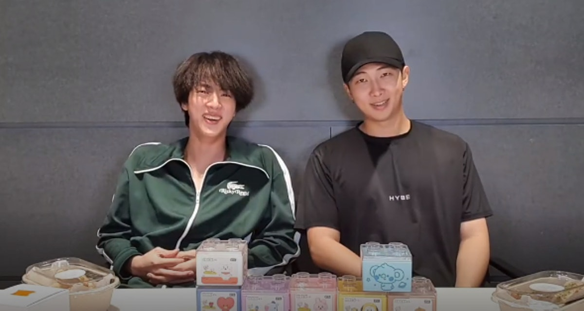 A screenshot of Jin and RM during their Aug. 19 VLIVE.