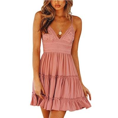 ECOWISH Lace Mini Dress