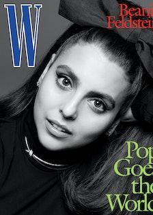 Beanie Feldstein wears a Banana Republic turtleneck; Anna Zuckerman Luxury earrings; Tiffany & Co. n...