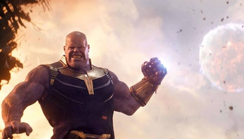 Thanos (Josh Brolin) throwing a moon at Tony Stark (Robert Downey Jr.) in Avengers: Infinity War