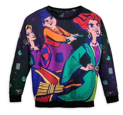 """Sweater featuring cartoon versions of witches from """"Hocus Pocus"""""""