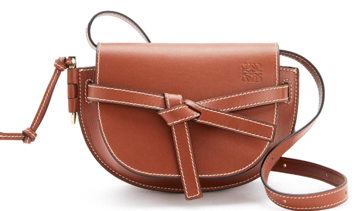 Loewe's mini gate dual saddle bag in natural calfskin.