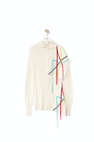 Graphic Jacquard Cardigan In Wool And Silk