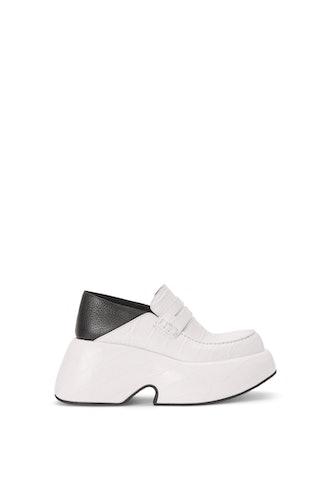 Wedge Slip On Loafer In Calfskin