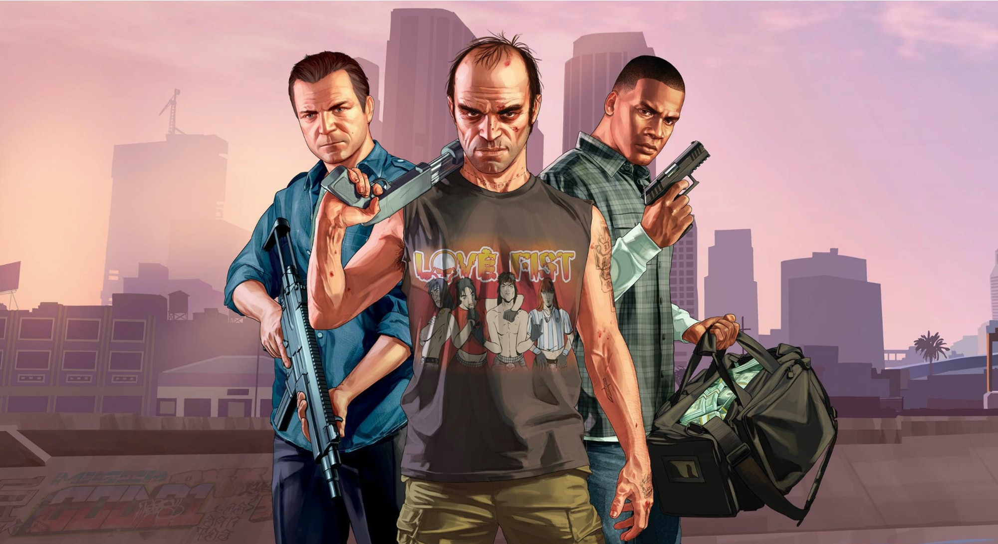 illustration of main characters from Grand Theft Auto V