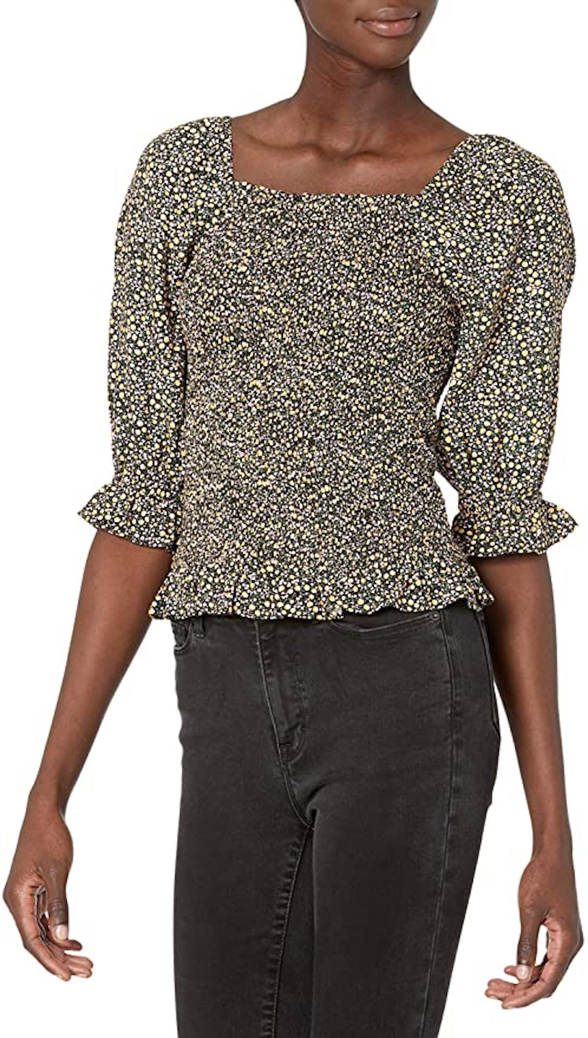 Goodthreads Fluid Twill Slim Fit Puff Sleeve Square Neck Shirt