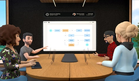 Four virutal characters sit around a desk looking at a chart projected onto a display in front of th...
