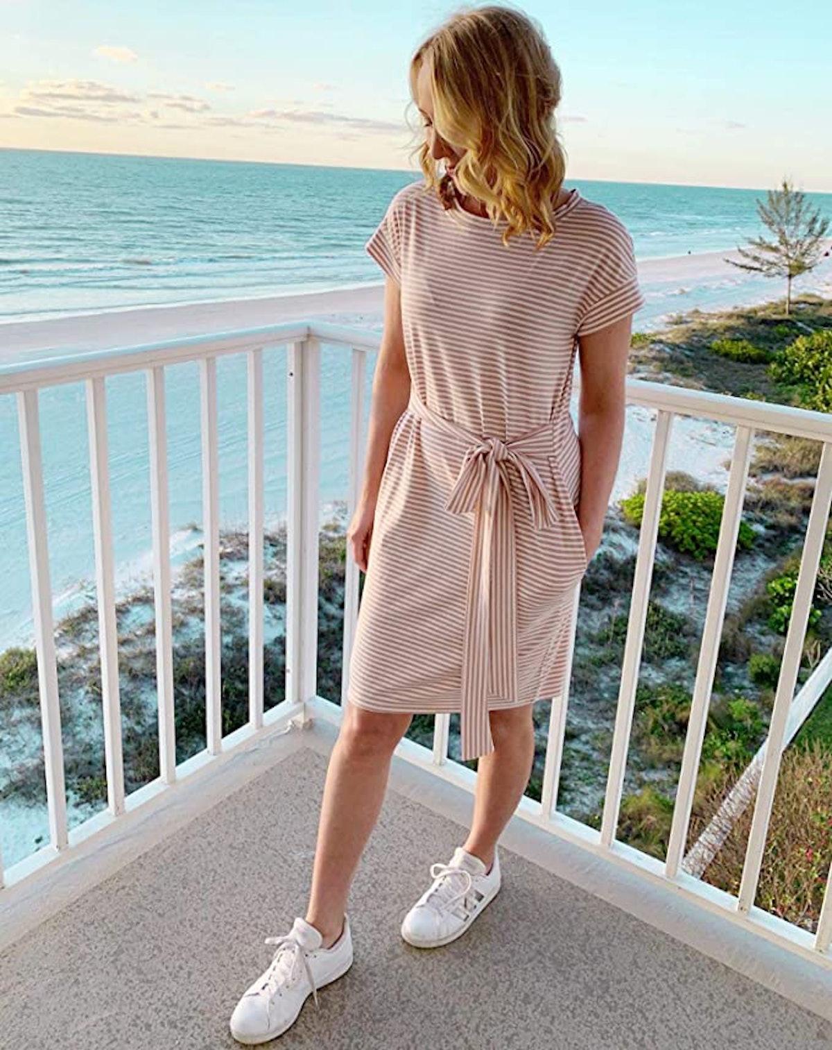MEROKEETY Striped Short Sleeve T Shirt Dress with Pockets
