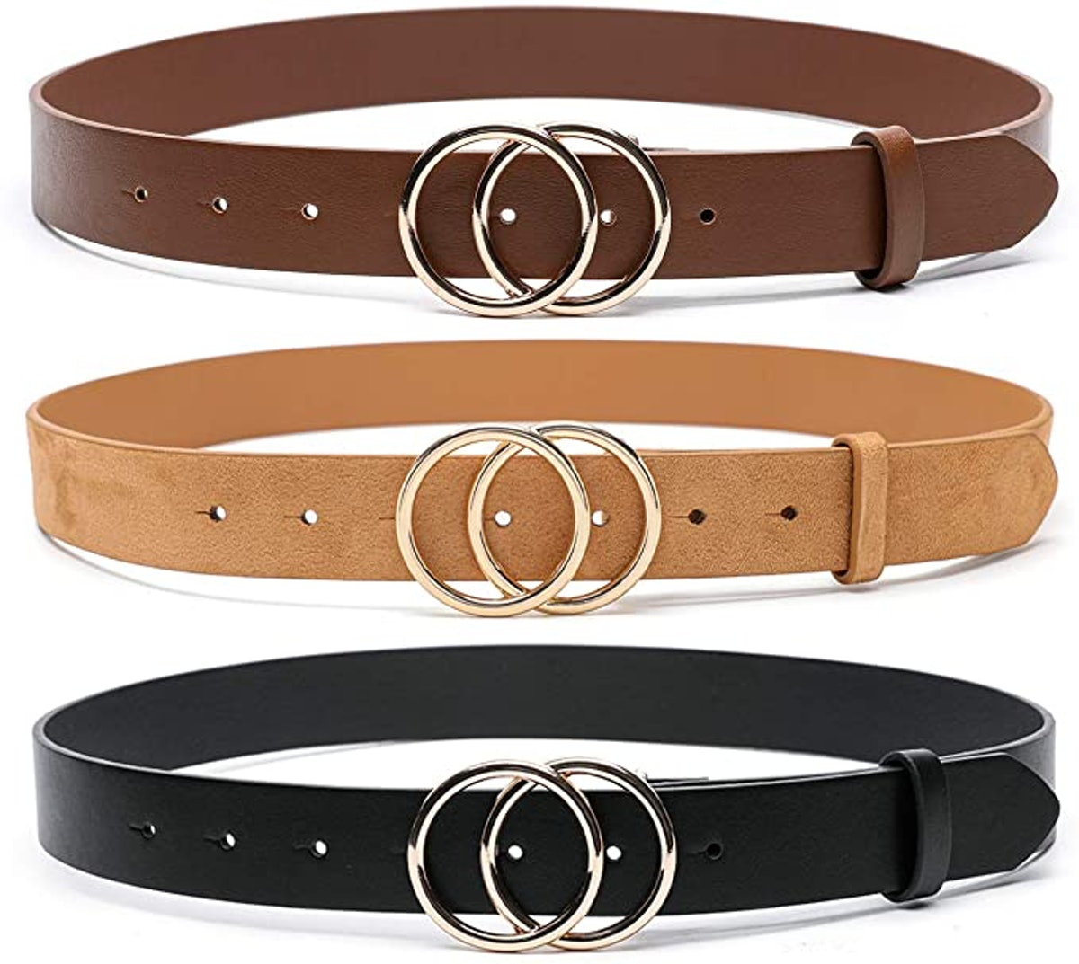 MORELESS Faux Leather Belts (3-Pack)