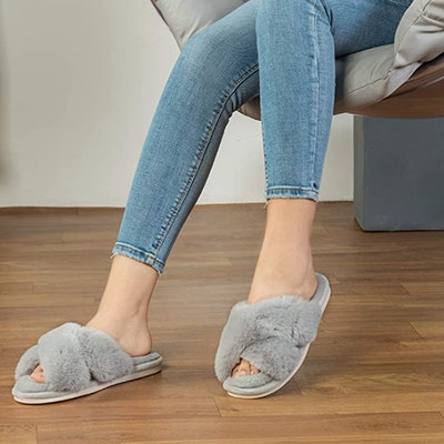 Parlovable Plush Open Toe Slippers