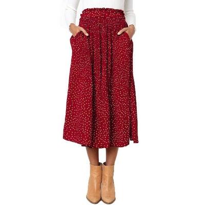 EXLURA Pleated Midi Skirt