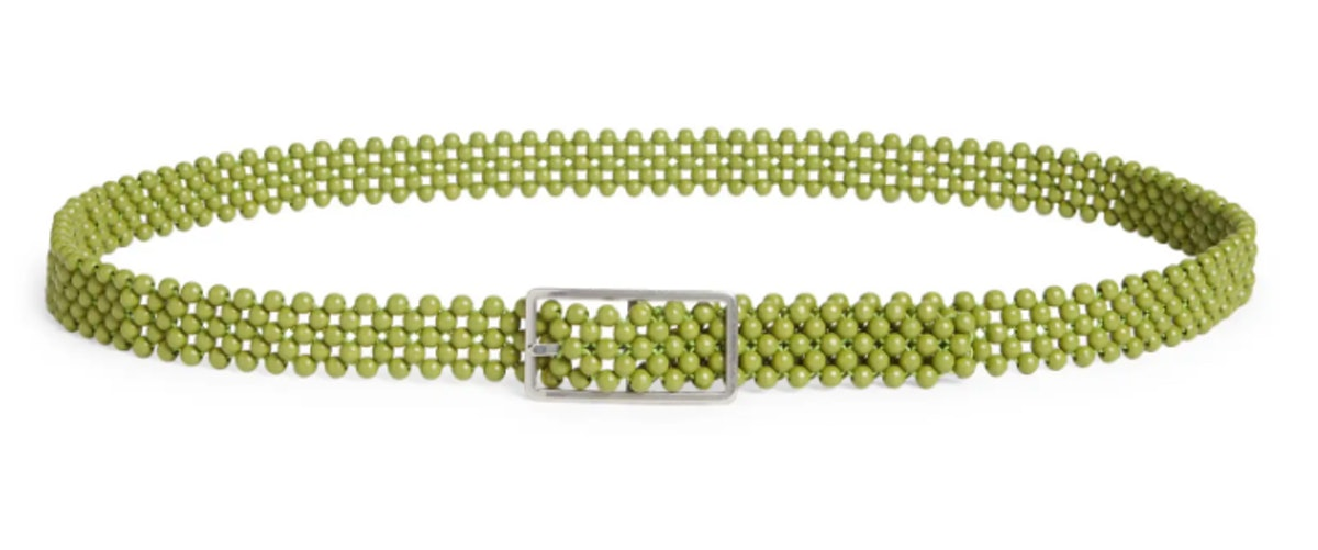 Bottega Veneta's wooden bead belt in green and gold.