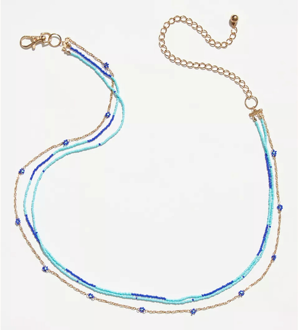 Free People's Copa Cabana Chain belt with colored beads.