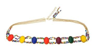 Ettika's mixed rainbow bead belt in gold.