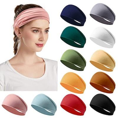 Jesries Elastic Headbands (12 Pack)