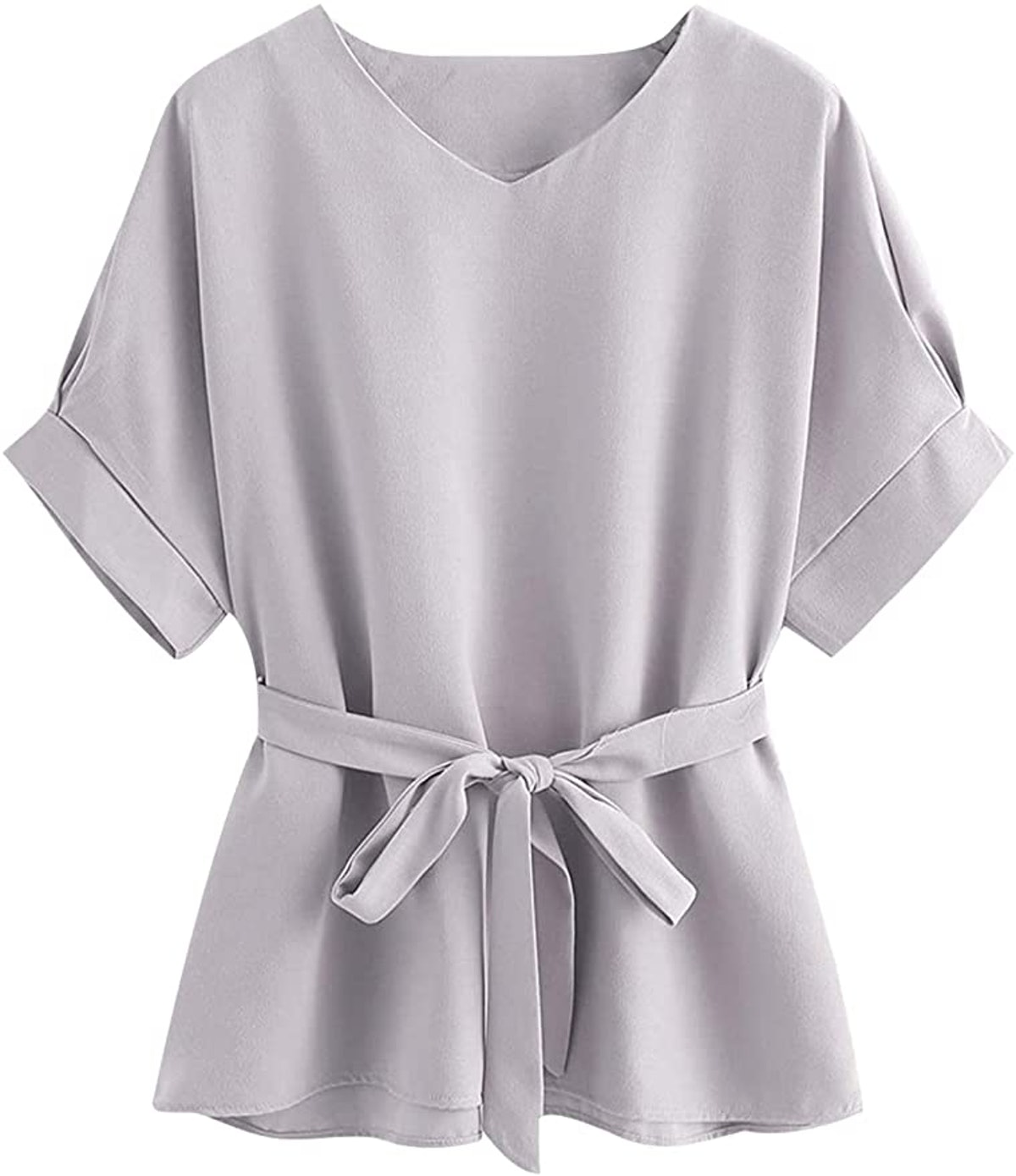 Milumia Short Sleeve Self Tie Tunic Top