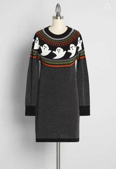 Mannequin display; sweater dress featuring ghosts