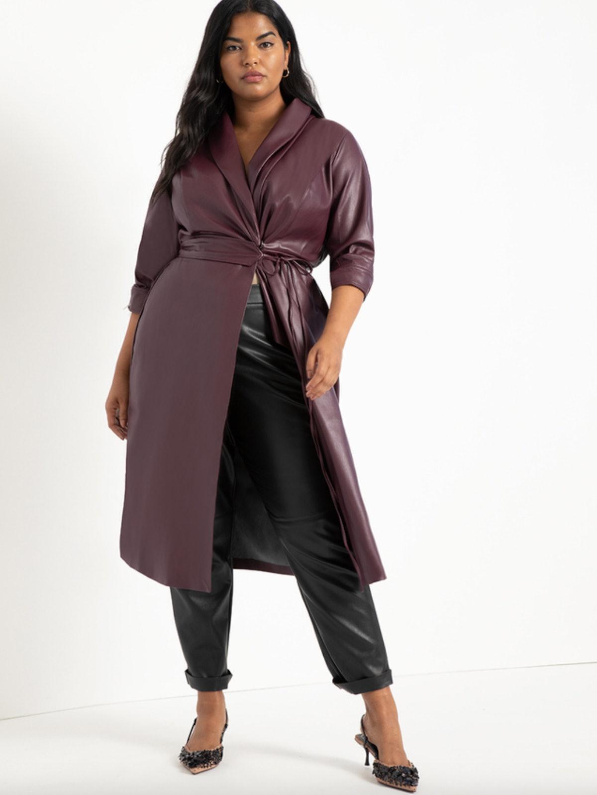 Shawl Collar Vegan Leather Dress