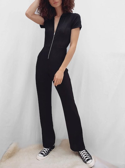 French Connection Skarlett Ribbed Jersey Jumpsuit, Black