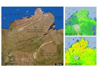 Satellite map of methane emissions over Siberia
