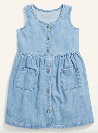 Fit & Flare Button-Front Chambray Utility Dress