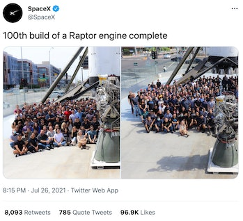 SpaceX's 100th Raptor engine completed.