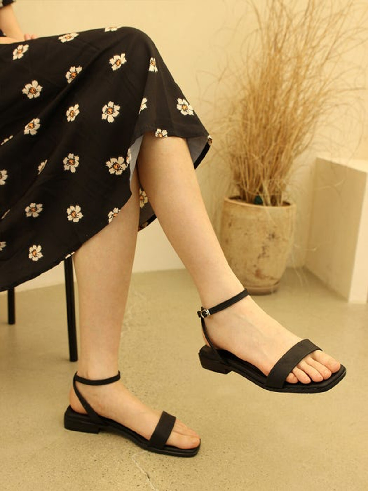 Flat Square Toe Ankle Strap Sandal