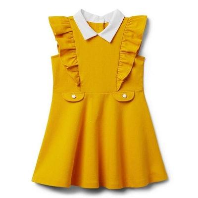 Collared Ruffled Ponte Dress