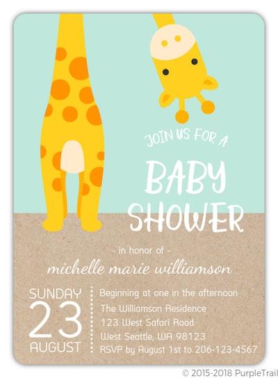 Peek-a-Boo Giraffe Safari Baby Shower Invitation
