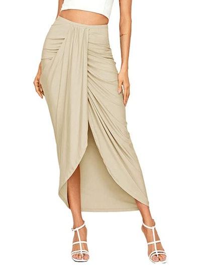 SheIn High Waist Maxi Draped Skirt