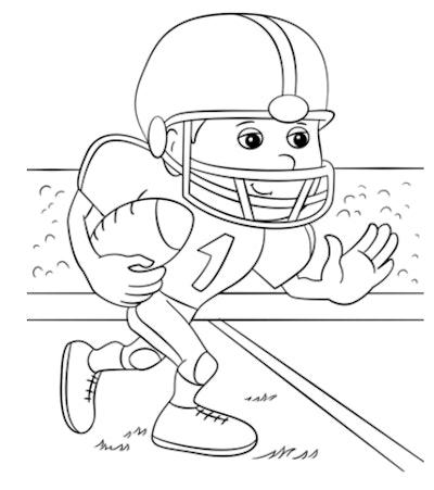 cartoon football running back coloring page